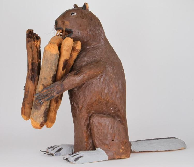 New Mexican folk art carving of a beaver
