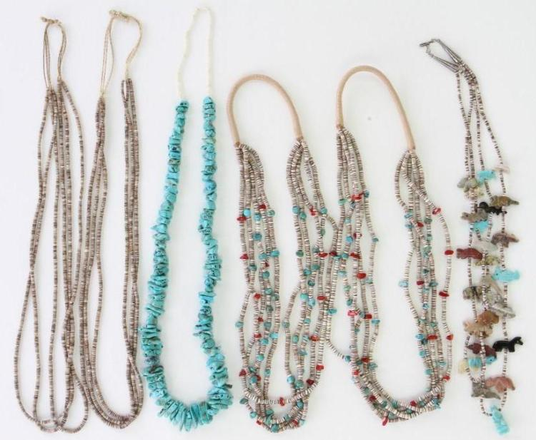 Six Santo Domingo and Navajo necklaces