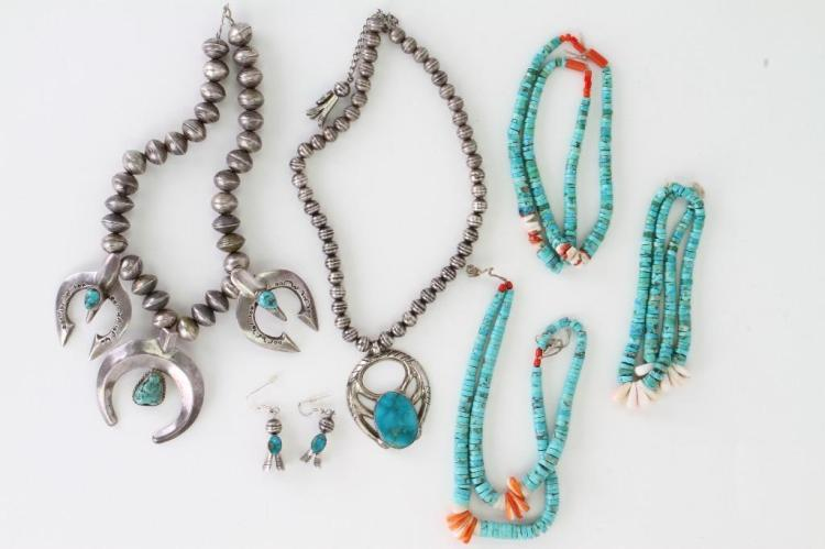 Six Navajo jewelry items