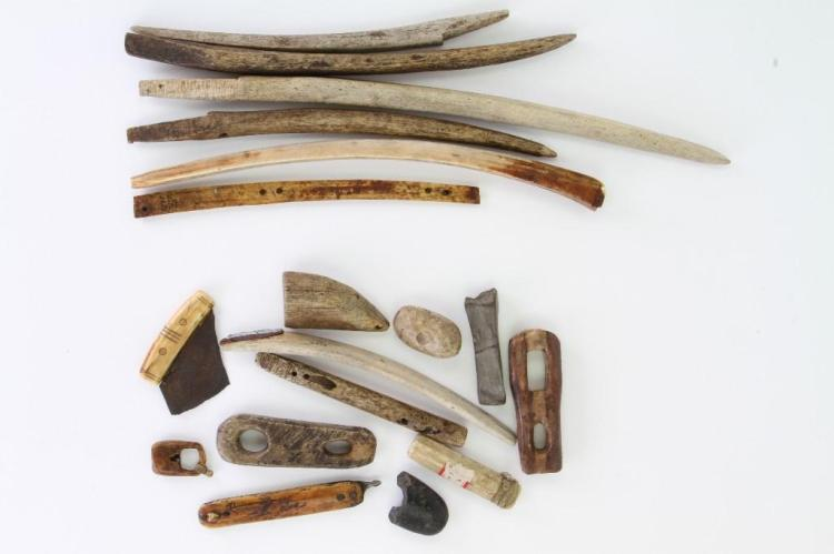 Collection of historic Eskimo tools and artifacts