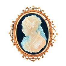 Hardstone cameo and 14k gold brooch-pendant