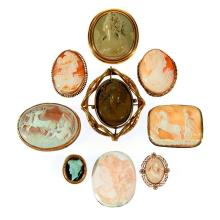 Collection of cameo brooches and pendants