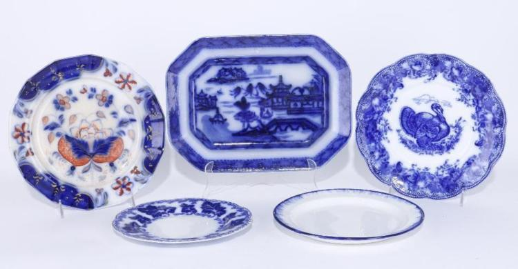 4 Blue Transfer Decorated Plates Platter 19th 20thc
