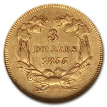 1855 $3 Gold - SCARCE Item - VG-XF Grade