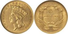 1854 $3 Gold Princess AU Plus Grade RARE