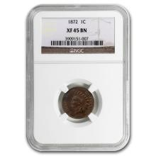 1872 Key Date Indian Head Cent XF 45 NGC