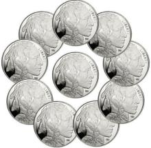 Lot of (10) 1 oz Silver Buffalo Rounds - Pure