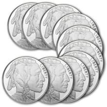 (10) Buffalo Silver Rounds 1 oz Each- Pure