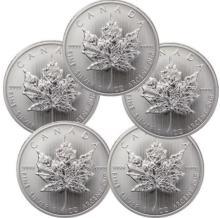 (5) Silver Canadian Maple Leaf's Bullion