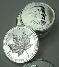 Lot of (10) Silver Canadian Maple Leaf's Random