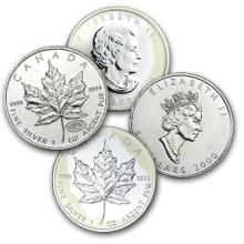 Lot of (4) Random Date Silver Canadian Maple Leafs