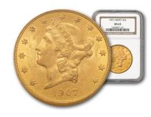 1907 Better Date MS 63 $ 20 Gold Liberty NGC