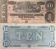 Authentic 1864 Confederate States $ 10 Currency