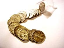 (20) Walking Liberty Halves in Roll 90% Silver