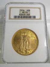 1926 MS 63 $ 20 Saint Gauden's NGC