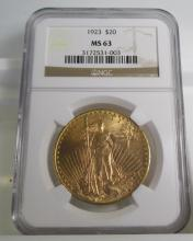 1923 MS 63 $ 20 Saint Gauden's NGC Graded
