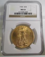 1925 MS 63 NGC $ 20 Gold Saint Gauden's