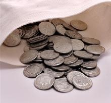 Canvas Bag of (300) Roosevelt Dimes -90% Silver