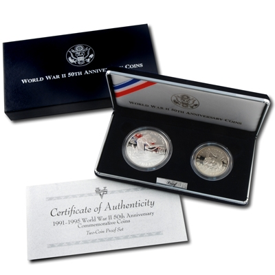 1993 WWII Anniversary Proof 2 coin set