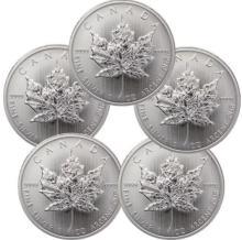 (5) Random Date Silver Cnadian Maple Leaf's