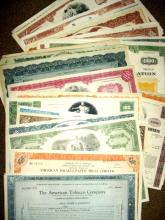 Lot of (50) Assorted Stock Certificates