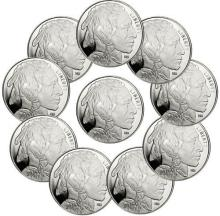Lot of 10 Bufflao 1 oz Silver Rounds