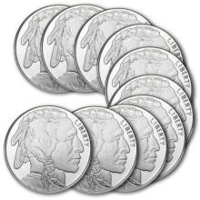 Lot of 10 Buffalo - Indian Silver Bullion Rounds