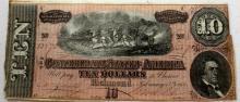 Civil War $ 10 Confederate Currency AU-BU