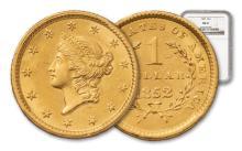 1852 $1 Gold Liberty MS 61 NGC