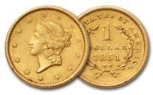 1851 XF-AU $1 Gold Liberty Type 1