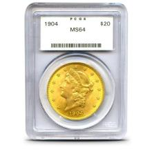 1904 MS 64 PCGS $ 20 Gold Liberty DOuble Eagle
