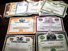 Lot of (50) Old Stock Certificates - Mixed Type