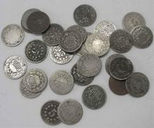 A lot of 30 Shield Nickels- Circulated