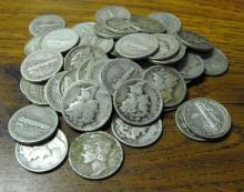 Lot of 250 Mercury DImes 90% Silver- Various