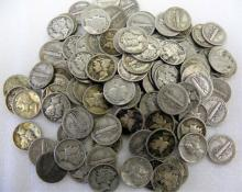 Lot of 100 Mercury SIlver Dimes 90%-Various
