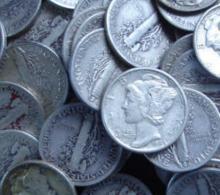 Lot of 100 Mercury Dimes- Circulated-