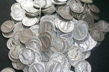 Lot of 100 Mercury Dimes- 1940's