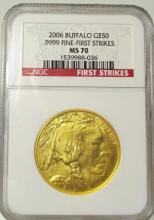 2006 MS 70 FIRST STRIKES  NGC Gold Buffalo 1 oz.