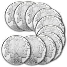 (10) Buffalo Rounds - 1 oz Each - Pure .999 Silver