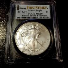 2013 - S MS 69 US Silver Eagle First Strike PCGS
