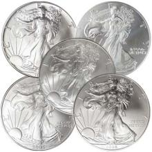 (5) 1-oz. Silver EagleS Random Dates