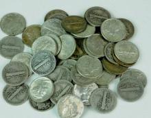 (50) Mercury Dimes- 90% Silver - Mixed $ 5 Face