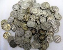 (100) Mercury Dimes - Random Dates 90% Silver