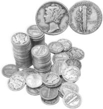(100) Mercury Dimes 90% Silver $ 10 Face