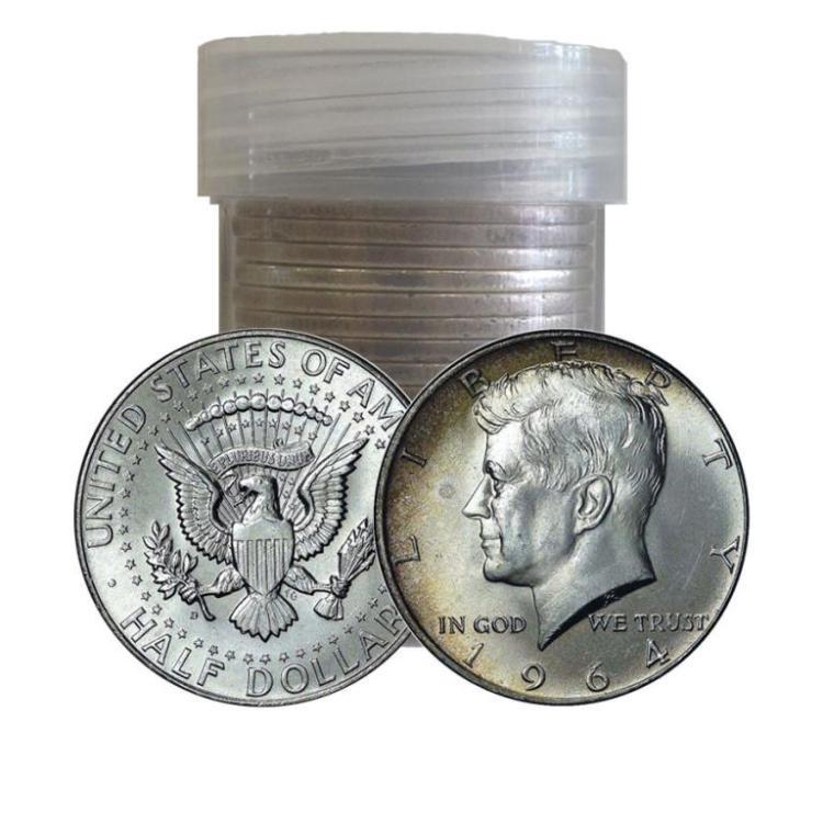 Roll of Kennedy Half Dollars -1964 -90% Silver