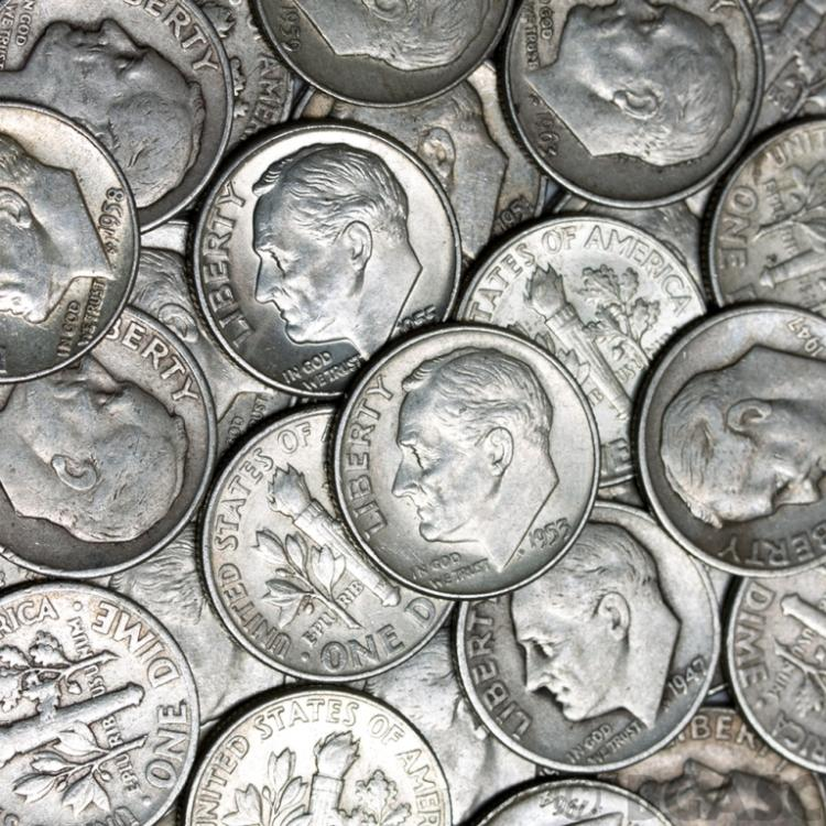 Lot of (200) Roosevelt Dimes 90% Silver