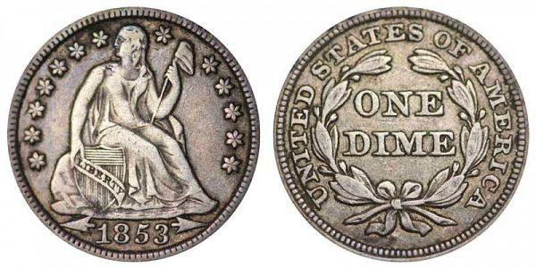 1853 Seated Liberty Dime Arrows - F-VF