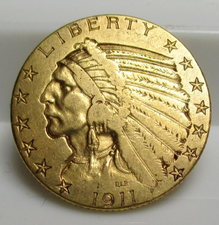 1911 S $ 5 Gold Indian Half Eagle Coin