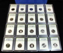20 Random Date INB Slabbed BU & Proof Quarters