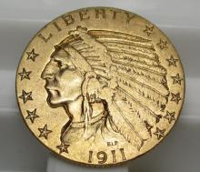 1911 $ 5 Gold indian Half Eagle